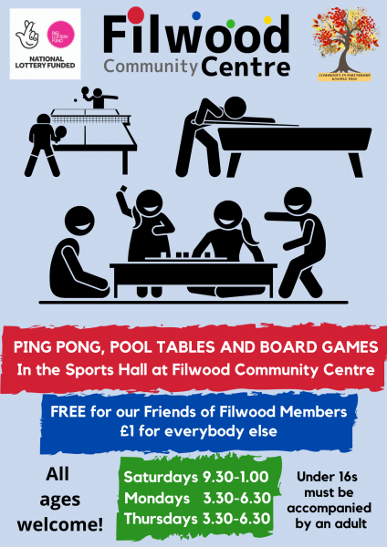 Volunteers needed for our Friends of Filwood games sessions at Filwood Community Centre!